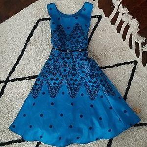 Girls Blue velvet detail Evening Gown Dress